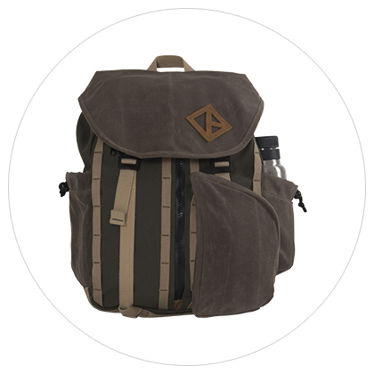 Pine Wax Canvas Great Day Backpack Retro