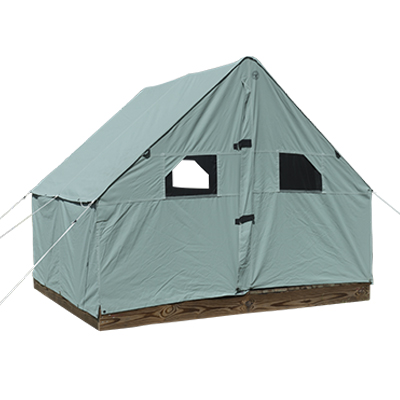 7ft by 8ft by 10ft Scout Canvas Wall Tent With Windows Pearl Grey