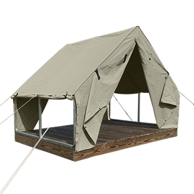 9'6ft by 7'6ft Scout Canvas Wall Tent With Windows Suntan