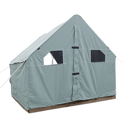 9ft by 9 ft Scout Canvas Wall Tent With Windows Pearl Grey