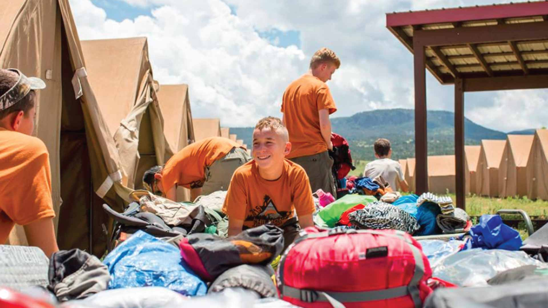 Boy scout troop at camp with Diamond Brand Gear wall tents
