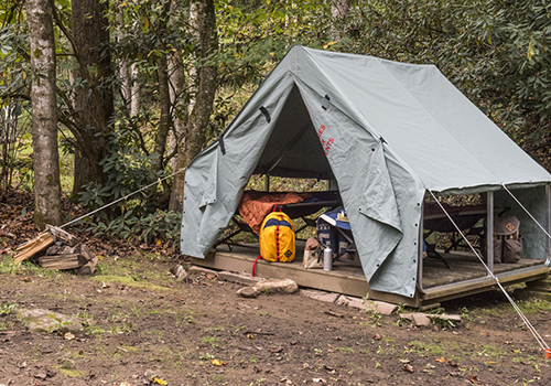 Wall tent on platform with cots and gear